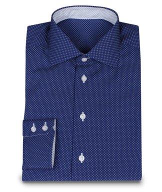 Tmavo modrá košile na míru s bílými tečkami