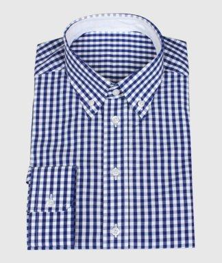 Modrá casual košile s bílym materiálem a vnitřním  límcem