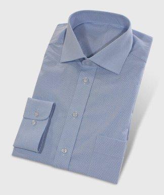 Košile na míru světlo modrá s krásným vzorem kockovaná