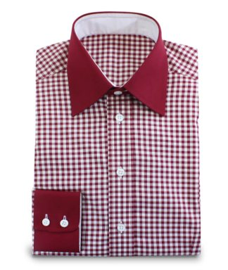 shirt red white checked with darkred contrasting fabrics