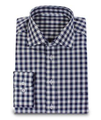 Tmavo modrá košile s krychlovým vzorem 2 kusy