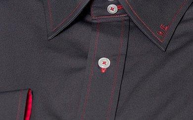 Designhemd Grau-Rot