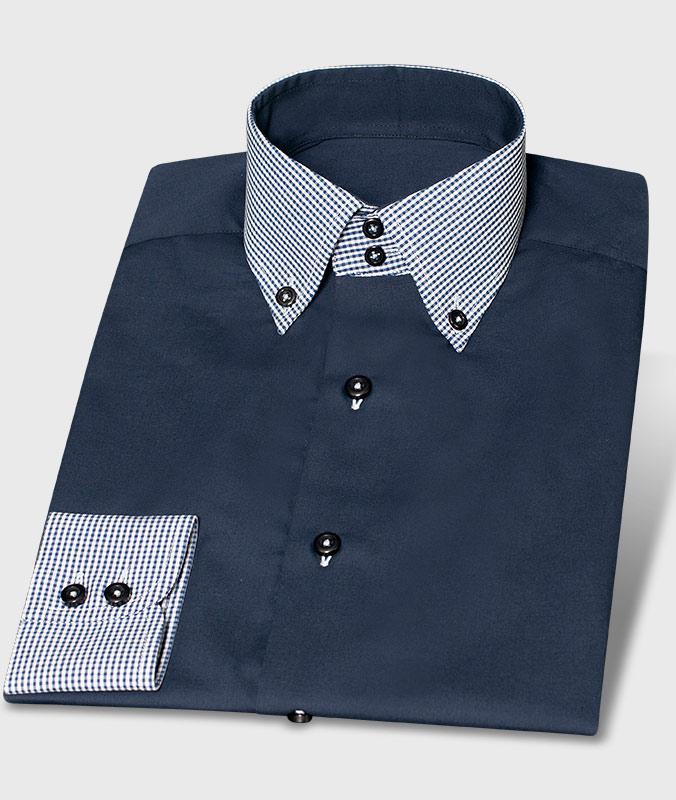 Ausgefallenes Designhemd Karo Blau