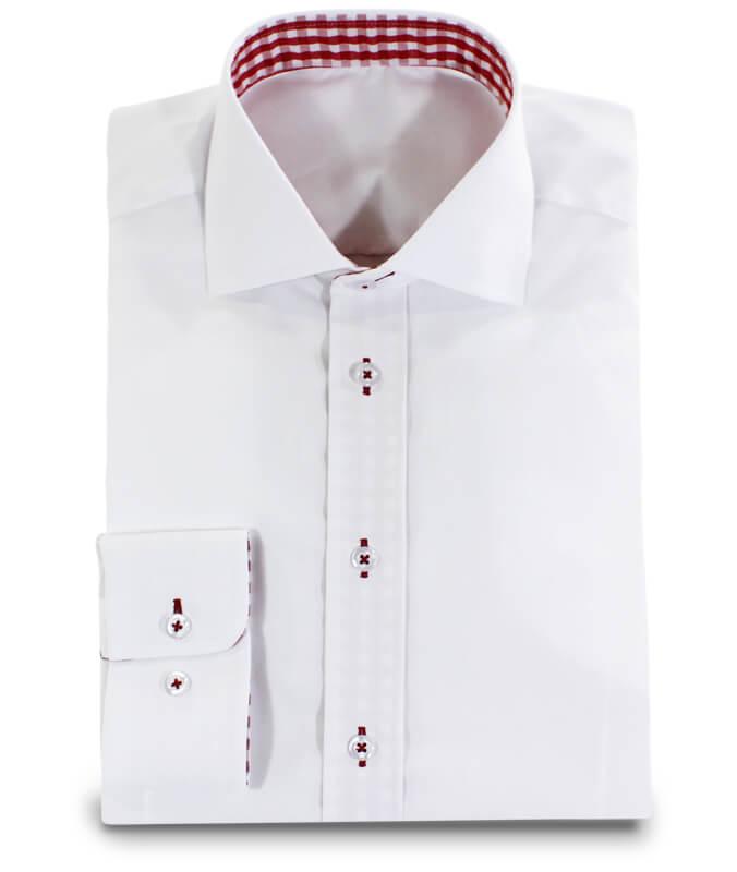 wei es hemd mit rotkarierter applikation im kragen ma hemden von. Black Bedroom Furniture Sets. Home Design Ideas