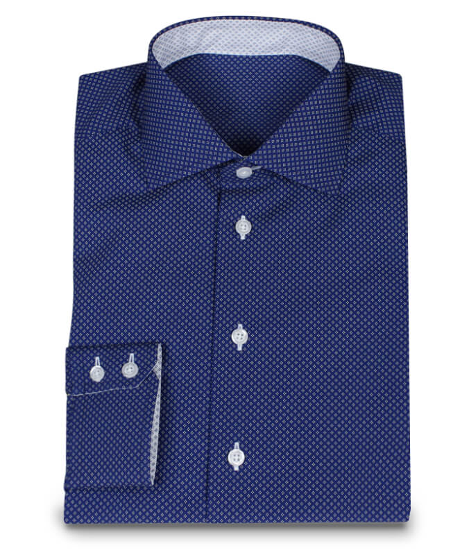 dunkelblaues hemd mit wei en punkten ma hemden von hemdwerk. Black Bedroom Furniture Sets. Home Design Ideas