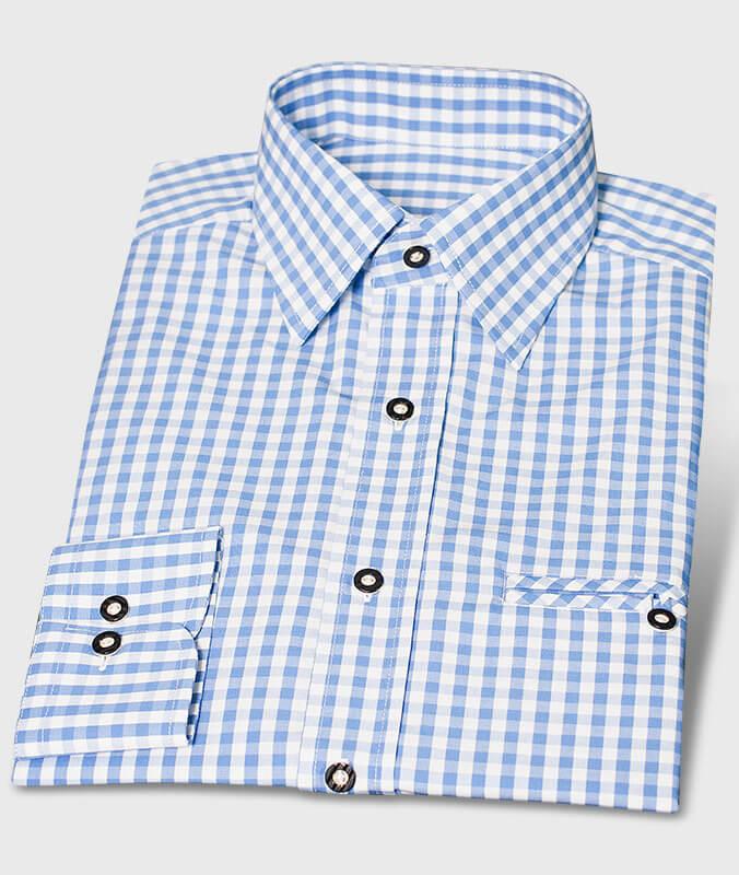 Trachtenhemd Karo Blau