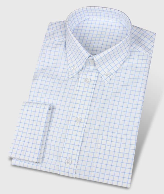 Blau-kariertes Oxfordhemd mit Umschlagmanschette