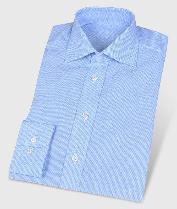 Pepita-Hemd Leinen Blau